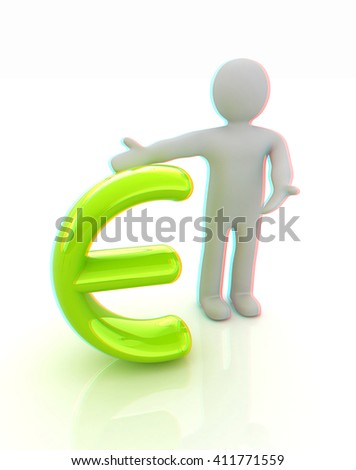 3d people - man, person presenting - euro sign. 3D illustration. Anaglyph. View with red/cyan glasses to see in 3D. - stock photo