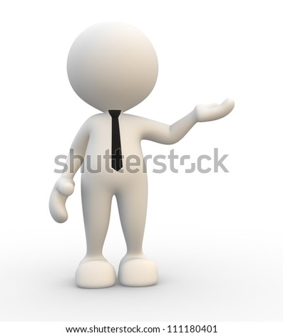 3d people - man, person presenting - pointing. - stock photo
