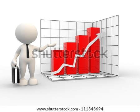 3d people - man, person  presenting successful business graph.
