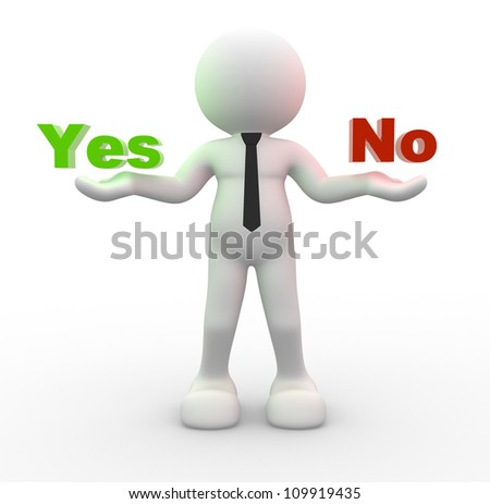 "3d people -  man, person presents ""yes"" and ""no"" words - stock photo"