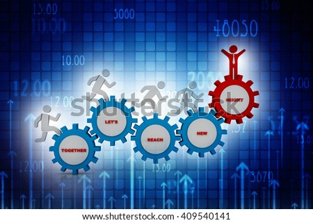 3d people - man, person running in gear wheels. Businessman and gear mechanism - stock photo