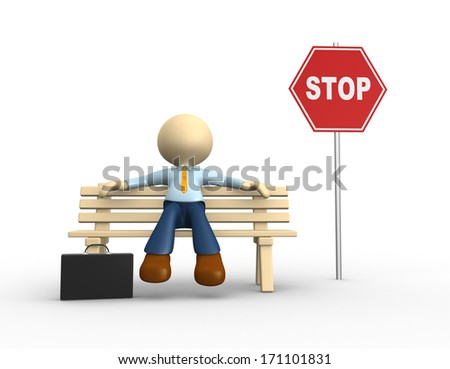 3d people - man, person sitting on the bench