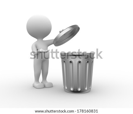 3d people - man , person standing next to a trash can - stock photo