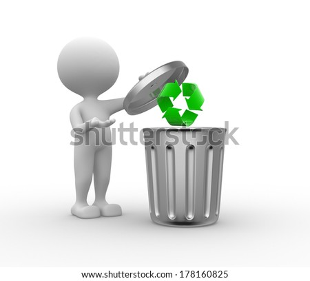 3d people - man , person standing next to a trash can and recycling sign - stock photo