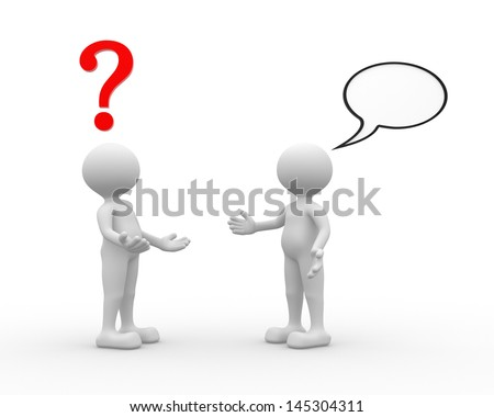 3d people - man, person talking - arguing. Question mark and blank bubble - stock photo