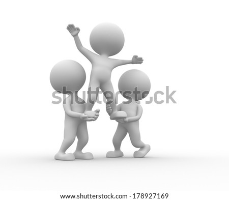 3d people - man, person - team support - stock photo