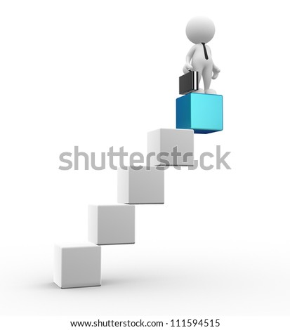 3d people - man, person the cube-shaped staircase. Successful business - stock photo