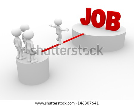 3d people - man, person walking on the wire. Jobs - stock photo