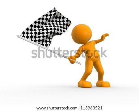 3d people - man, person waving a flag. Finish - stock photo