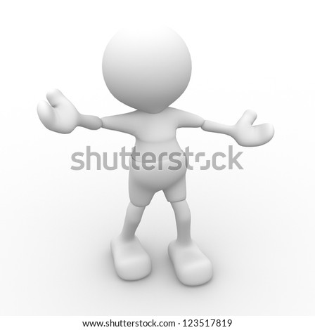 3d people - man, person - welcome and be happy