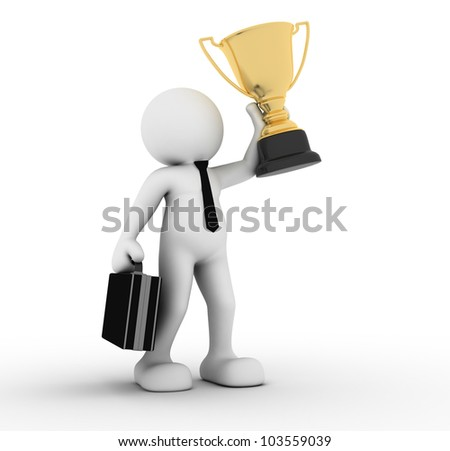3d people - man, person winner holding a big shiny trophy. - stock photo