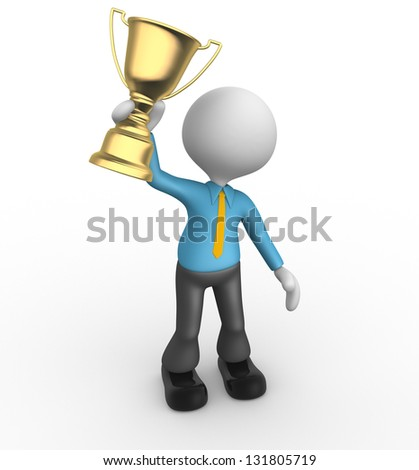 3d people - man, person winner holding a big shiny trophy. Businessman - stock photo