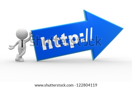 "3d people - man, person with a arrow and word "" http://"". - stock photo"