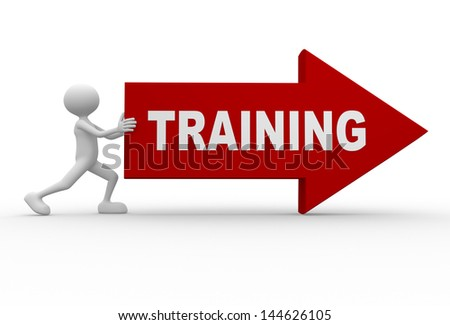 "3d people - man, person with a arrow and world ""Training"" - stock photo"