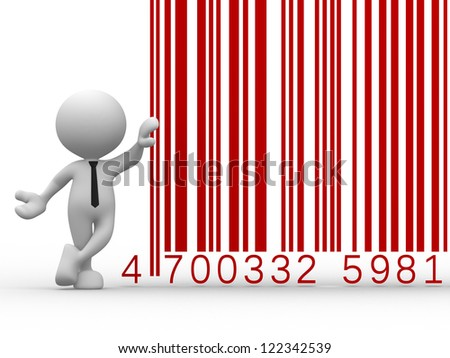 3d people - man, person with a bar code ( barcode ). - stock photo