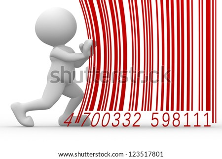 3d people - man, person with a barcode - stock photo