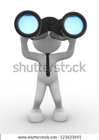 3d people - man, person with a big binocular. Vision - stock photo