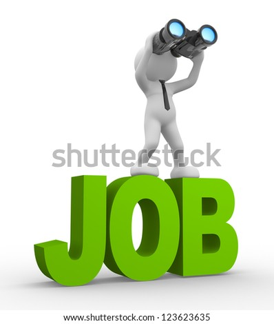 3d people - man, person with a binocular. Looking for job - stock photo