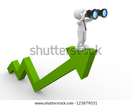3d people - man, person with a binocular on a arrow. Concept of search - stock photo