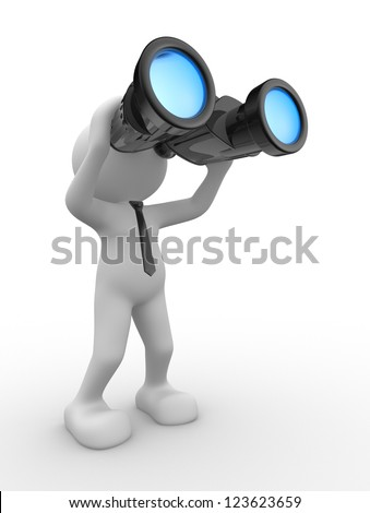 3d people - man, person with a binocular. Vision - stock photo
