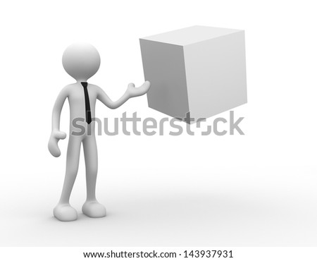 3d people - man, person with a blank cube - stock photo