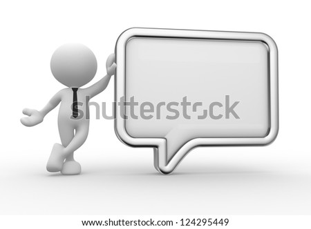 3d people - man, person with a blank speech bubble. Communication concept - stock photo