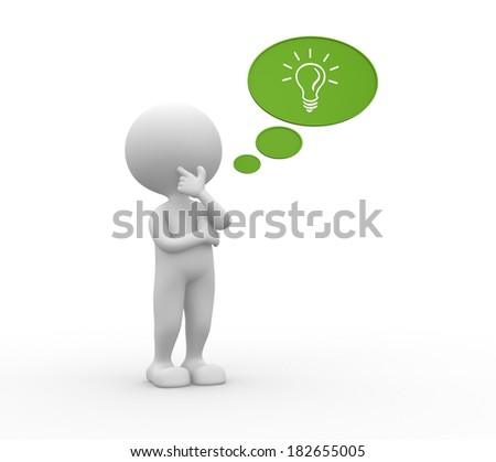 3d people - man, person with a bubble and light bulb. Idea concept  - stock photo