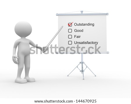 3d people - man, person with a business board. Outstanding, good, fair, unsatisfactory - stock photo