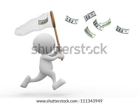 3d people - man, person with a butterfly net and dollars  banknotes. - stock photo