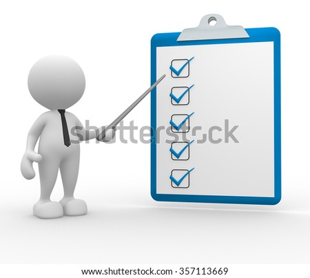 3d people - man, person with a clipboard. Checklist - stock photo