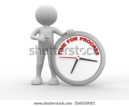 3d people - man , person with a clock. Time for progress - stock photo