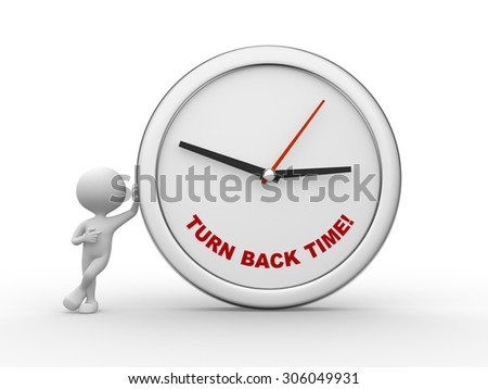 3d people - man , person with a clock. Turn back time! - stock photo