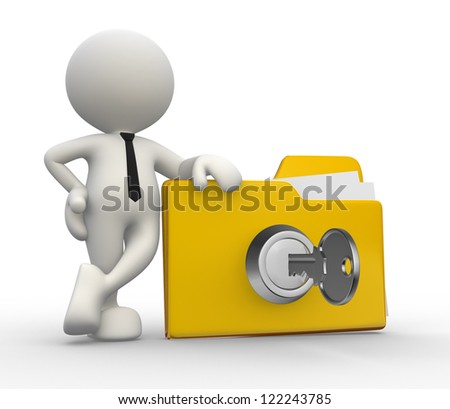 3d people - man, person with a folder and a key. Concept of security - stock photo