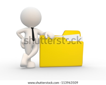 3d people - man, person with a folder. Businessman - stock photo