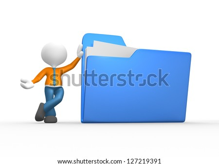 3d people - man, person with a folder. Businessman. - stock photo