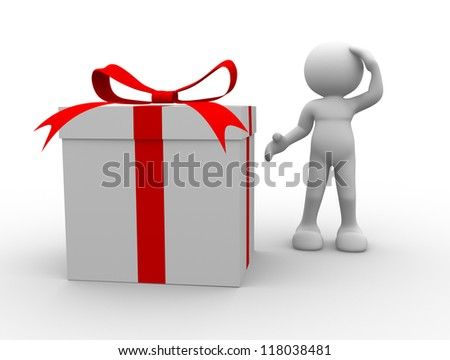 3d people - man, person with a gift box - stock photo