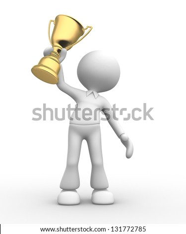 3d people - man, person with a gold trophy