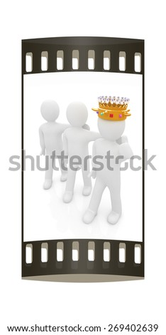 3d people - man, person with a golden crown and 3d man. The film strip - stock photo