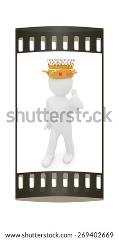 3d people - man, person with a golden crown. King. The film strip - stock photo