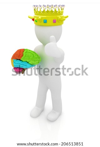 3d people - man, person with a golden crown. King with brain - stock photo