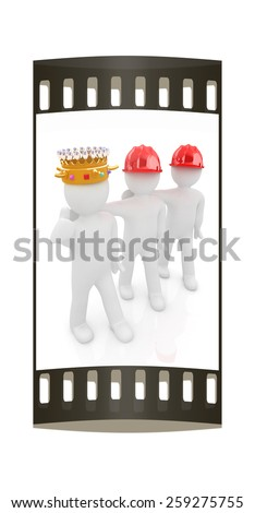3d people - man, person with a golden crown. King with person with a hard hat. The film strip - stock photo