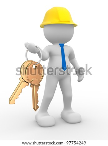 3d people - man, person with a golden key in hand. Builder.