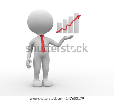 3d people - man, person with a graph financial