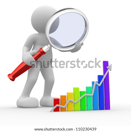 3d people - man, person with a graph financial and a magnifier. Concept of search - stock photo