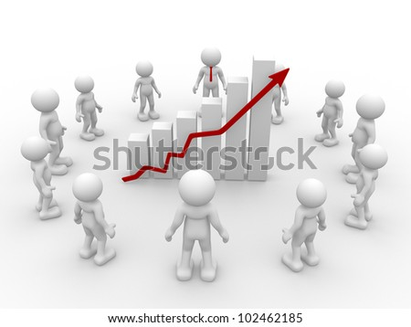 3d people - man, person with  a graph financial. Businessmen - stock photo