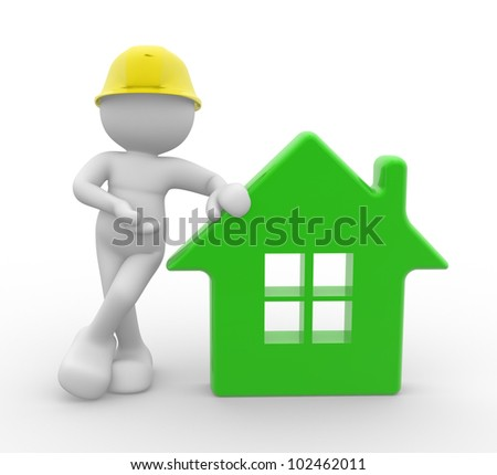 3d people - man, person with a house and . Builder with helmet. - stock photo