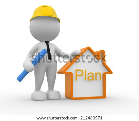 3d people - man, person with a house. Builder  - stock photo