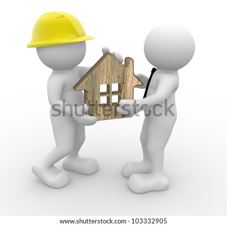 3d people - man, person with a house . Builder and a businessman - stock photo