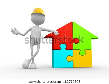 3d people - man, person with a house pieces of puzzle - jigsaw.