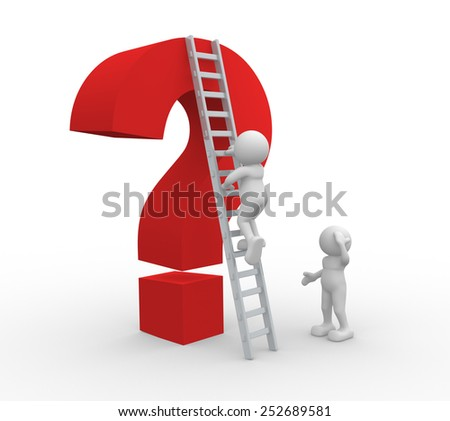 3d people - man, person with a ladder and an question mark - stock photo